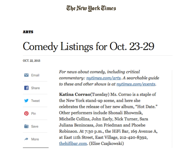 Katina in the New York Times